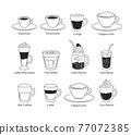 Line art illustration set of coffee cups 77072385