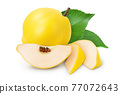 Fresh cut quince isolated on the white background with clipping path and full depth of field 77072643