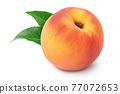 Ripe peach fruit isolated on white background with clipping path and full depth of field 77072653