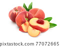 Ripe chinese flat peach fruit with leaf isolated on white background with clipping path and full depth of field 77072665