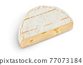 Camembert cheese isolated on white background with clipping path and full depth of field. Top view. Flat lay 77073184