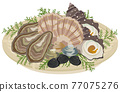 oyster, oysters, sashimi 77075276