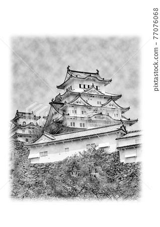 himeji castle, himeji jo, spring 77076068