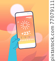 human hand holding smartphone with daily temperature mobile app weather forecasting and meteorology 77079111