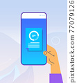 human hand using mobile app online data statistics remote business control on smartphone screen 77079126