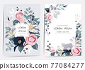 Vector illustration of a beatiful floral frame set in spring for Wedding, anniversary, birthday and party. Design for banner, poster, card, invitation and scrapbook  77084277
