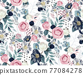 Vector illustration of a seamless floral pattern in spring for Wedding, anniversary, birthday and party. Design for banner, poster, card, invitation and scrapbook  77084278