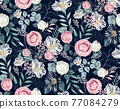 Vector illustration of a seamless floral pattern in spring for Wedding, anniversary, birthday and party. Design for banner, poster, card, invitation and scrapbook 	 77084279