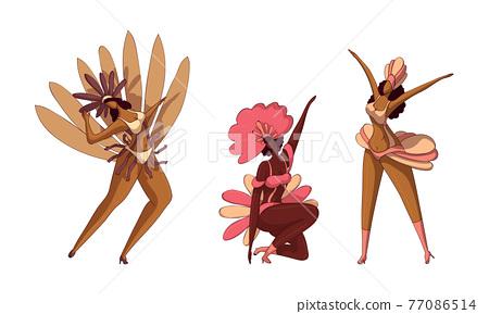 Brazilian Dark Skinned Samba Dancer in Feathered Costume Vector Set 77086514