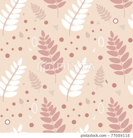 A pattern of leaves in warm beige colors 77089118