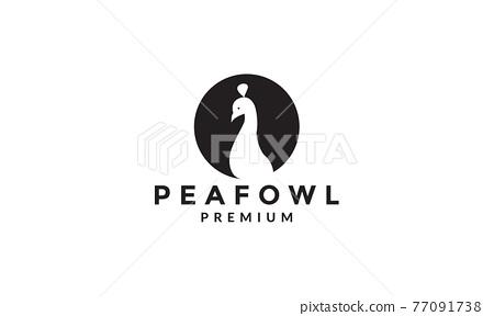 Peafowl or peacock with black shadow logo symbol icon vector graphic design illustration 77091738