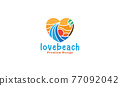 love abstract beach wave with sunset logo symbol icon vector graphic design illustration 77092042