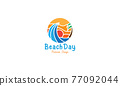 abstract beach wave with sunset logo symbol icon vector graphic design illustration 77092044