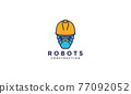 construction worker robots helmet  lines logo symbol icon vector graphic design illustration 77092052