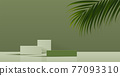 Cosmetic green background and premium podium display for product presentation branding and packaging . studio stage with shadow of leaf. vector design. 77093310