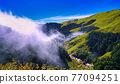 Beautiful views of the mountains, blue sky, white clouds and fresh air. The scenery along the Central Cross-island Highway in Taiwan. December 2020. 77094251