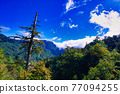 Beautiful views of the mountains, blue sky, white clouds and fresh air. The scenery along the Central Cross-island Highway in Taiwan. December 2020. 77094255