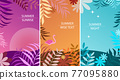 Set of abstract summer background designs for sale, banner, poster. Flat flowers, palm leafs, flamingo.  77095880