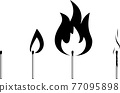 Black and white set of different matches. Contains new match, burning match, burnt down match with smoke. 77095898
