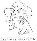 Abstract Woman face with hat. Continuous line drawing. 77097169