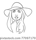 Abstract Woman face with hat. Continuous line drawing. 77097170