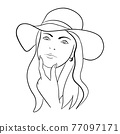 Abstract Woman face with hat. Continuous line drawing. 77097171