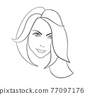 Abstract Woman face. Continuous line drawing. vector 77097176
