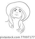Abstract Woman face with hat. Continuous line drawing. 77097177