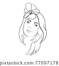 Abstract Woman face with flower. Continuous line drawing. 77097178