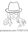 Abstract Woman face with hat. Continuous line drawing. 77097179