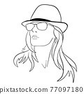 Abstract Woman face with hat. Continuous line drawing. 77097180
