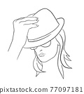 Abstract Woman face with hat. Continuous line drawing. 77097181