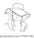 Abstract Woman face with hat. Continuous line drawing. 77097182