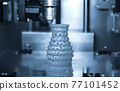 3D printer prints from the plastic figure closeup. 77101452