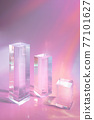 three clear glass rectangle prism podiums on pastel colored background  77101627