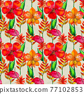 Seamless pattern With Tropical Flowers. Watercolor Background 77102853
