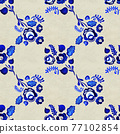 Blue floral seamless pattern in Russian gzhel background 77102854