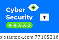 Cyber security illustration in flat outline style 77105216