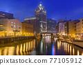 Milwaukee, Wisconsin, USA downtown skyline on the Milwaukee River 77105912