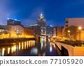 Milwaukee, Wisconsin, USA downtown skyline on the Milwaukee River 77105920