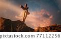 Jesus Christ hanging on cross 77112256