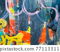 close up of colorful messy painted urban wall texture 77113311