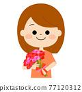 微笑與花束的婦女 77120312