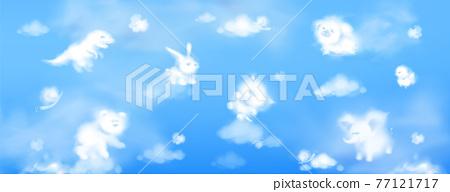 White clouds in shape of cute animals in sky 77121717