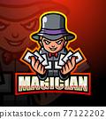 Magician mascot esport logo design 77122202