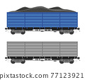 Freight boxcar wagon with coal. 77123921