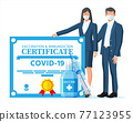 People behind Covid-19 vaccination passport. 77123955