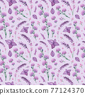 Purple Flowers and Leaves Watercolor Seamless Pattern 77124370