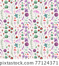 Watercolor Garden Flowers and Herbs Seamless Pattern 77124371