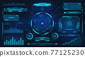 Digital user interface. Futuristic technology UI screen. Game car or spaceship dashboard. Analysis or control hologram panel vector display 77125230